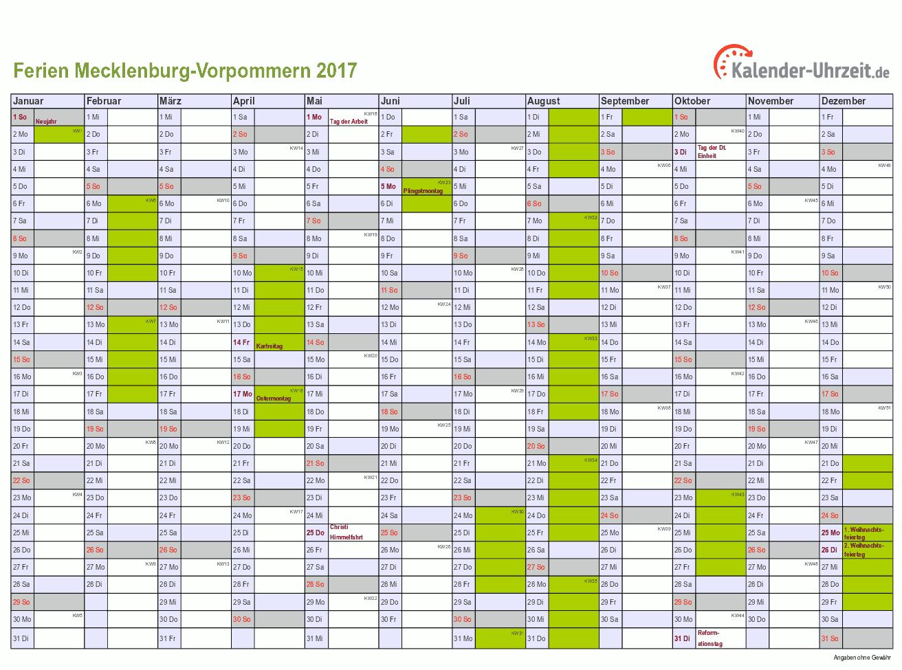 Ferien Meck Pomm 2017 Ferienkalender Zum Ausdrucken