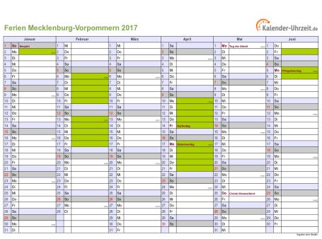 Ferienkalender 2017 für Meck.-Pomm. - A4 quer-zweiseitig
