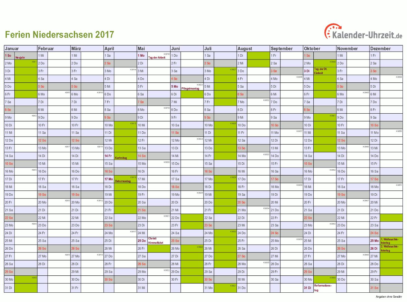 Ferien 2017 Niedersachsen