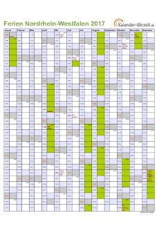 Ferienkalender 2017 für Nordrhein-Westfalen - A4 hoch-einseitig