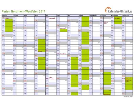 Ferienkalender 2017 für Nordrhein-Westfalen - A4 quer-einseitig