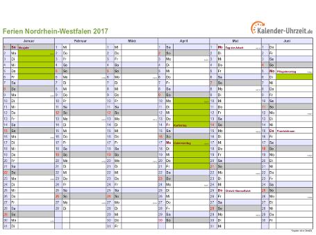 Ferienkalender 2017 für Nordrhein-Westfalen - A4 quer-zweiseitig
