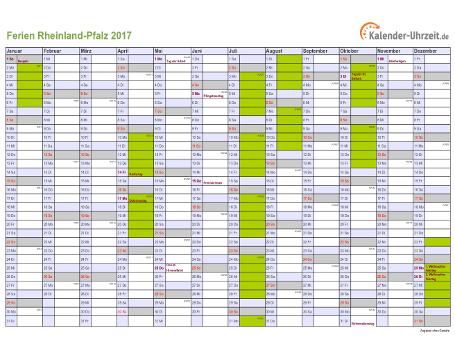 Ferienkalender Rheinland-Pfalz 2017 zum Ausdrucken und Downloaden