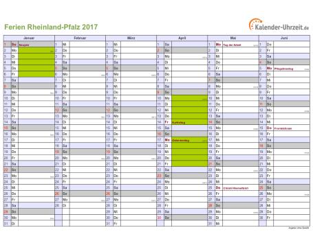 Ferienkalender 2017 für Rheinland-Pfalz - A4 quer-zweiseitig