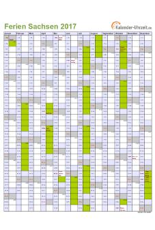Ferienkalender 2017 für Sachsen - A4 hoch-einseitig
