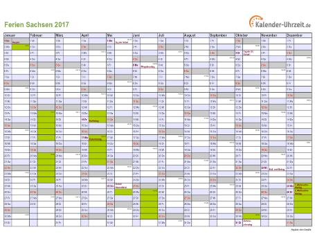 Ferienkalender 2017 für Sachsen - A4 quer-einseitig