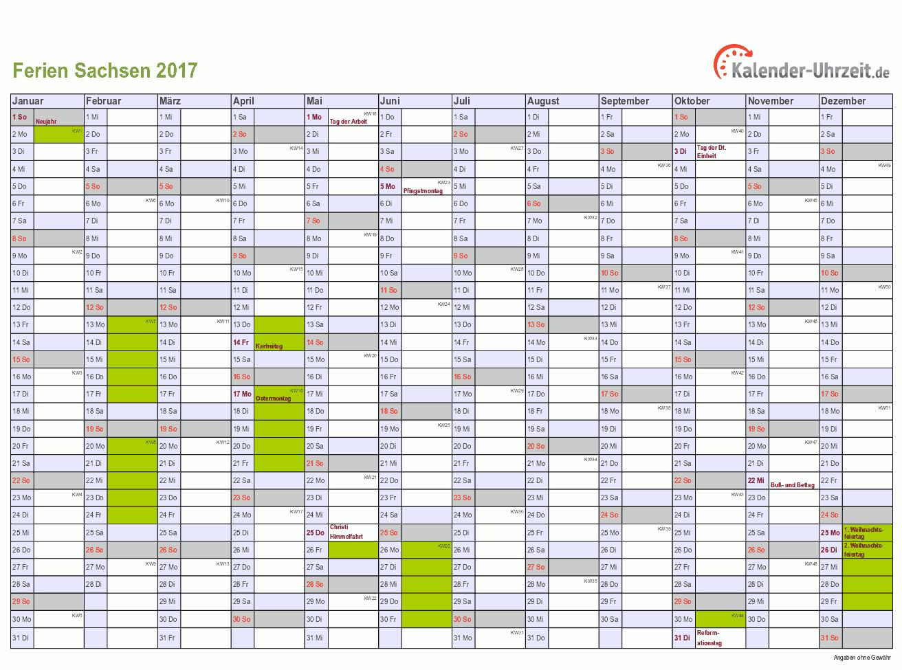 Ferien 2017 Sachsen