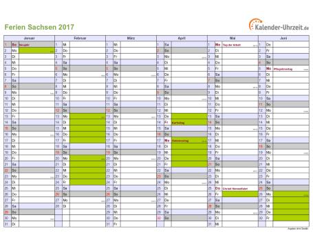 Ferienkalender 2017 für Sachsen - A4 quer-zweiseitig