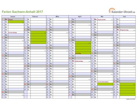 Ferienkalender 2017 für Sachsen-Anhalt - A4 quer-zweiseitig