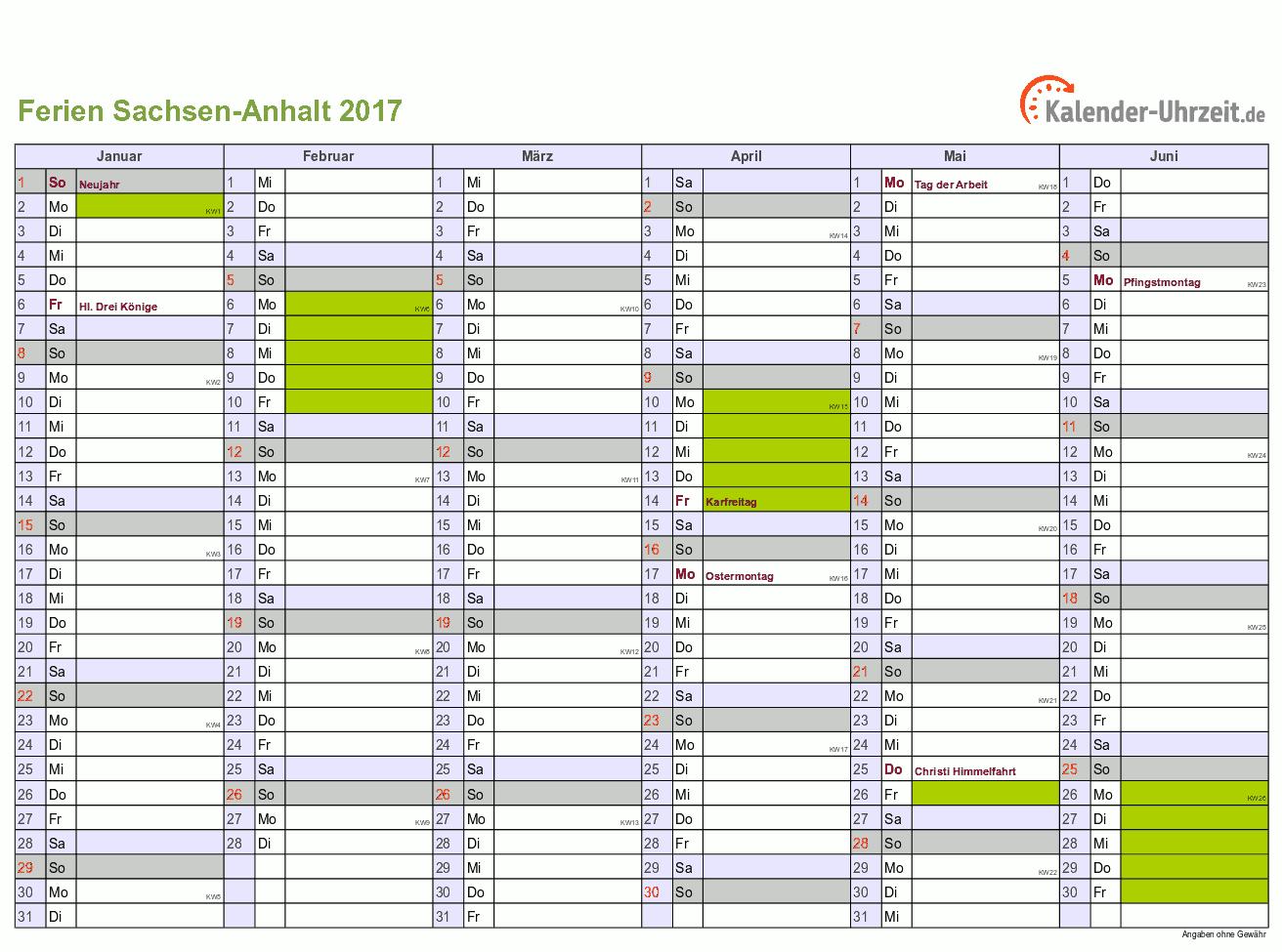 Ferien Sachsen-Anhalt 2017 - Ferienkalender zum Ausdrucken