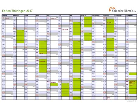 Ferienkalender 2017 für Thüringen - A4 quer-einseitig