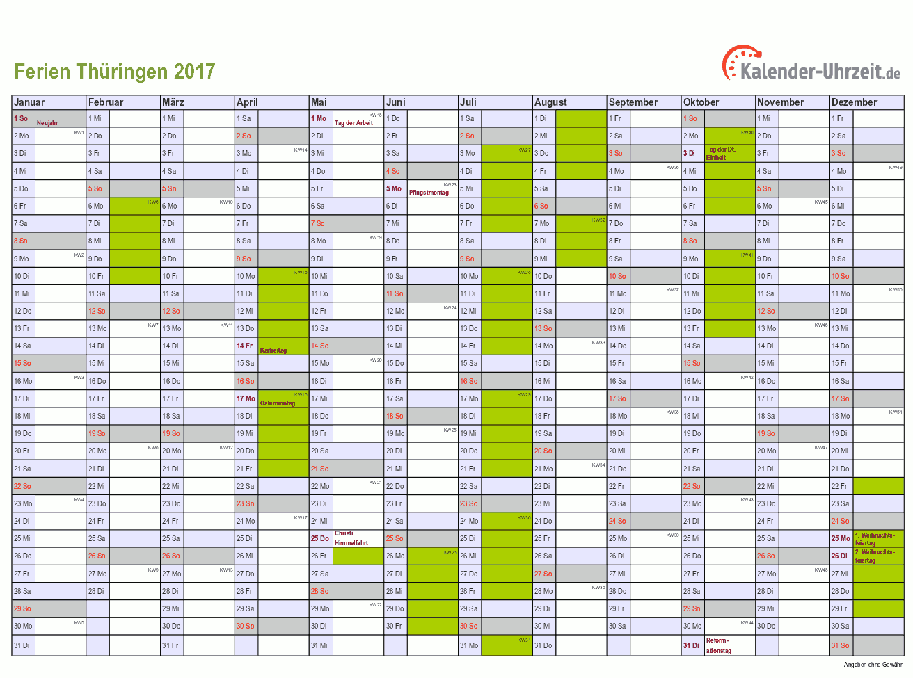 Ferien Thüringen 2017 - Ferienkalender zum Ausdrucken
