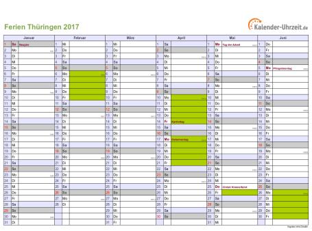 Ferienkalender 2017 für Thüringen - A4 quer-zweiseitig