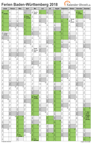 Ferienkalender 2018 für Baden-Württemberg - A4 hoch-einseitig