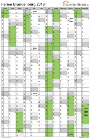 Ferienkalender 2018 für Brandenburg - A4 hoch-einseitig