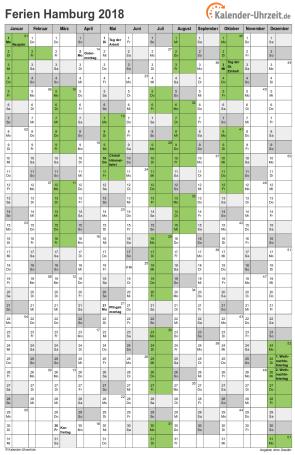 Ferienkalender 2018 für Hamburg - A4 hoch-einseitig