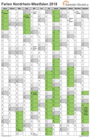 Ferienkalender 2018 für Nordrhein-Westfalen - A4 hoch-einseitig