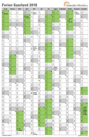 Ferienkalender 2018 für Saarland - A4 hoch-einseitig