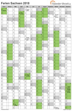 Ferienkalender 2018 für Sachsen - A4 hoch-einseitig