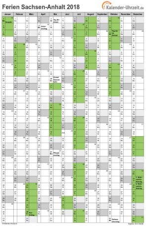 Ferienkalender 2018 für Sachsen-Anhalt - A4 hoch-einseitig