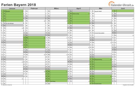 Ferienkalender 2018 für Bayern - A4 quer-zweiseitig
