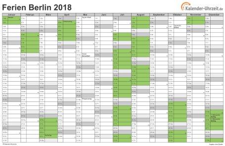 Ferienkalender 2018 für Berlin - A4 quer-einseitig