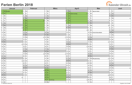 Ferienkalender 2018 für Berlin - A4 quer-zweiseitig