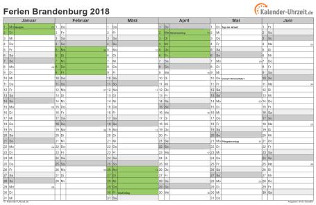 Ferienkalender 2018 für Brandenburg - A4 quer-zweiseitig