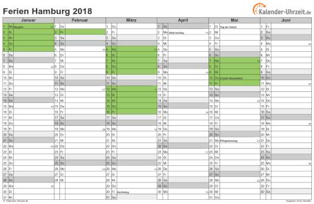 Ferienkalender 2018 für Hamburg - A4 quer-zweiseitig