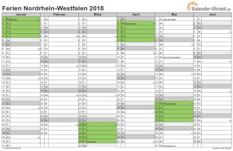 Ferienkalender 2018 für Nordrhein-Westfalen - A4 quer-zweiseitig