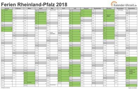 Ferienkalender 2018 für Rheinland-Pfalz - A4 quer-einseitig
