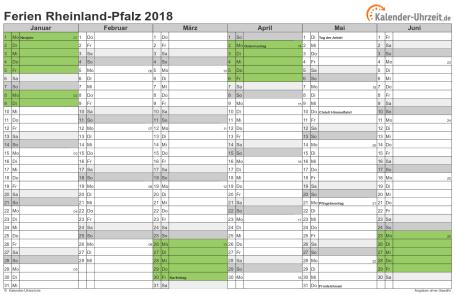 Ferienkalender 2018 für Rheinland-Pfalz - A4 quer-zweiseitig