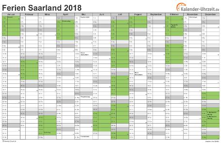 Ferienkalender 2018 für Saarland - A4 quer-einseitig