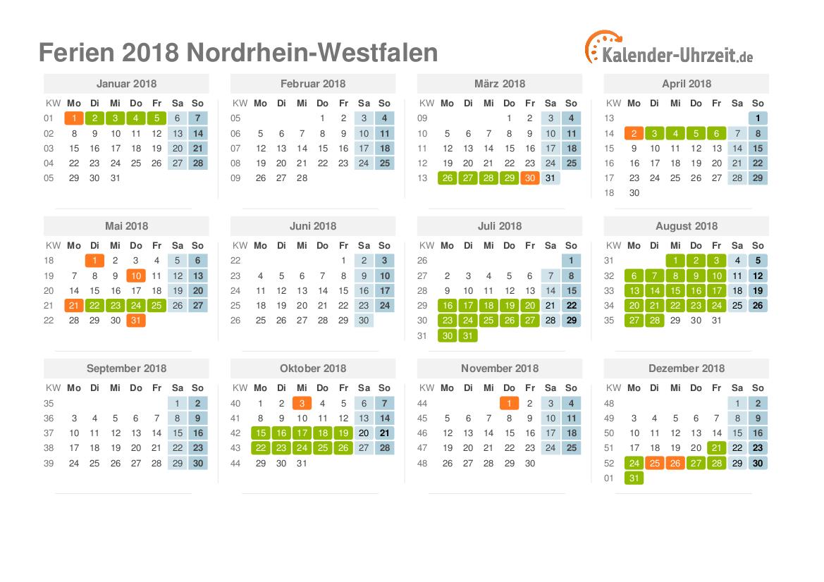 ferien nordrhein westfalen 2018 ferienkalender zum. Black Bedroom Furniture Sets. Home Design Ideas
