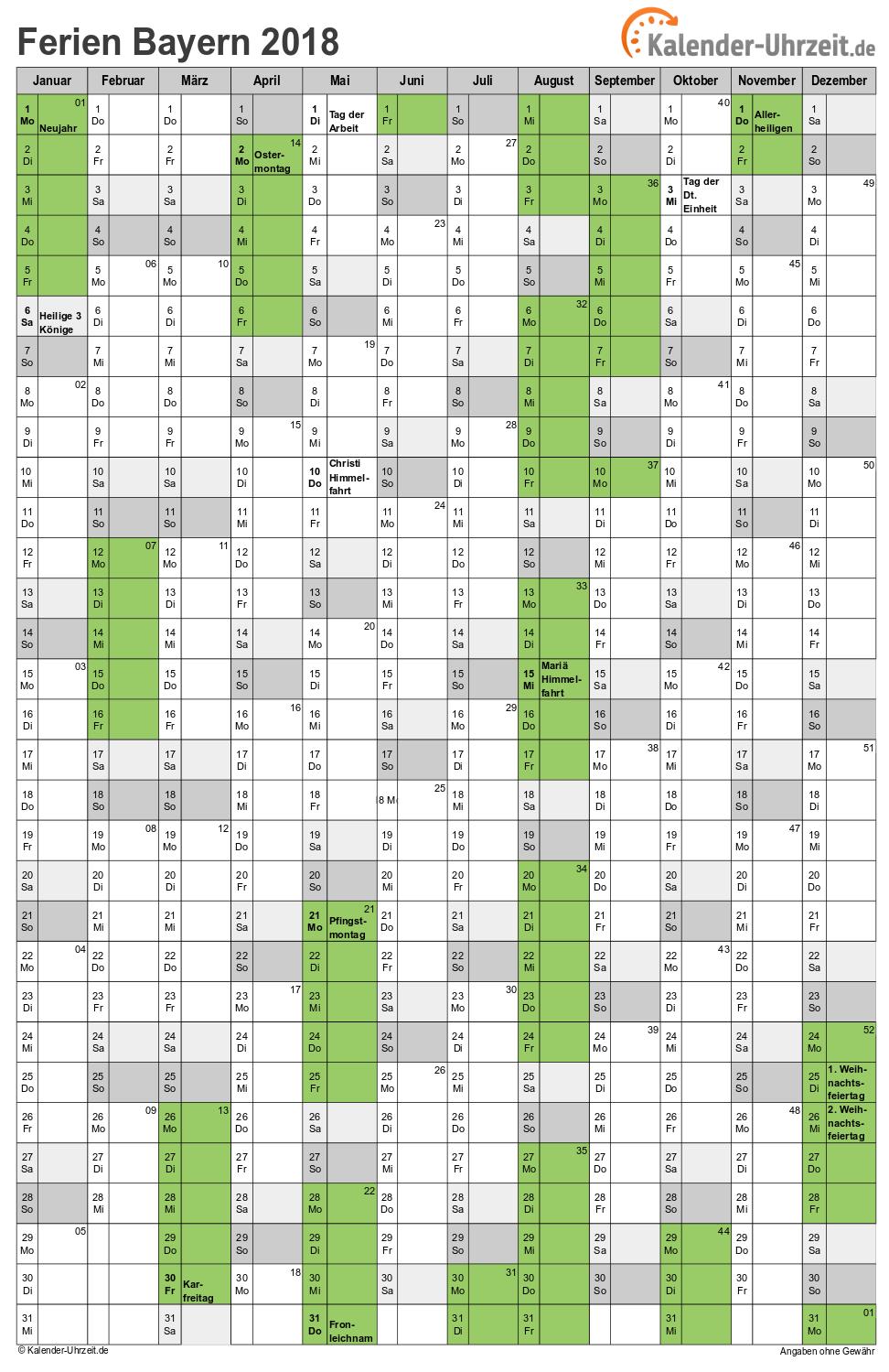 Ferien Bayern 2018 Ferienkalender Zum Ausdrucken