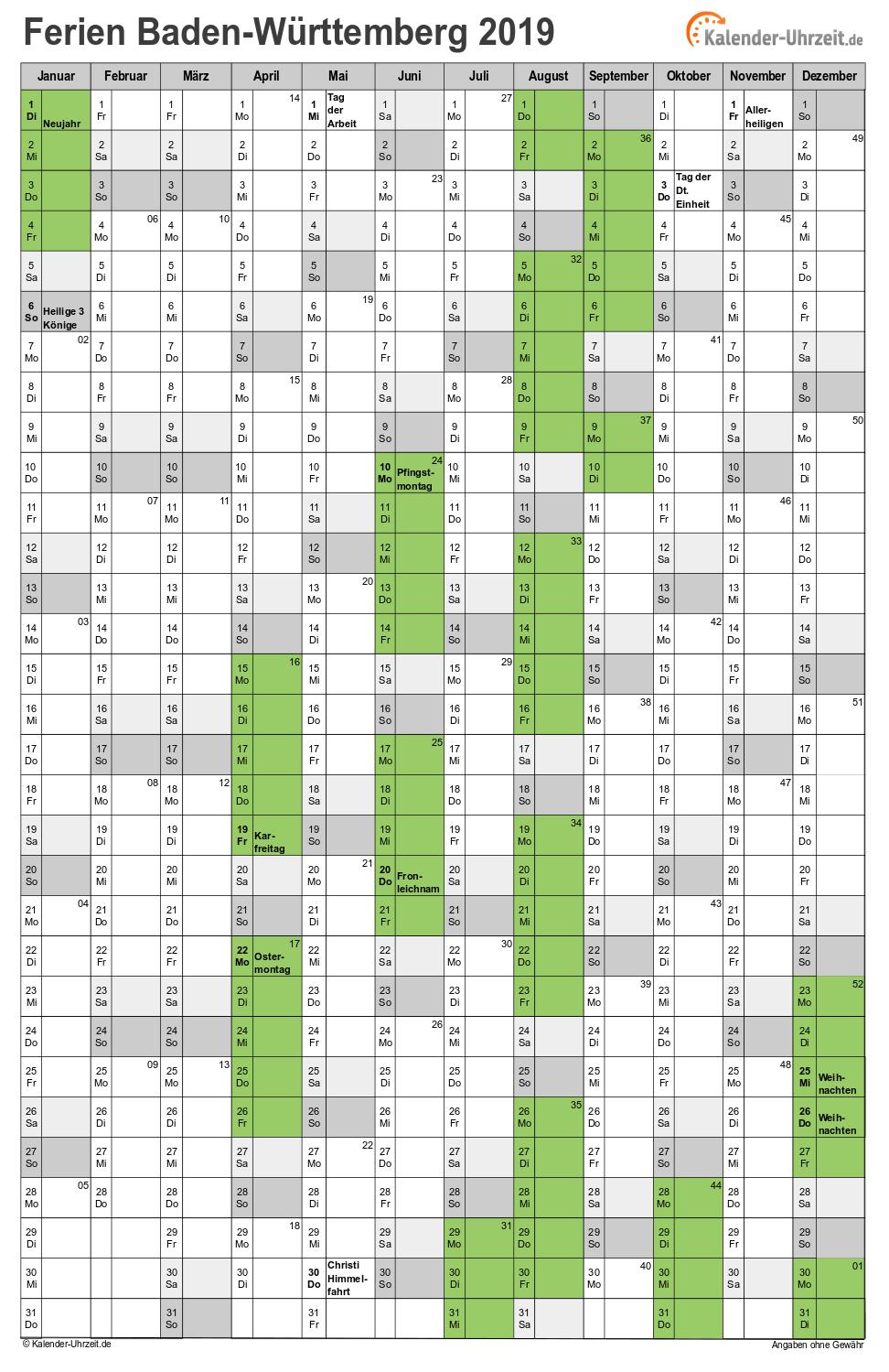 Ferien Baden-Württemberg 2019 - Ferienkalender zum Ausdrucken