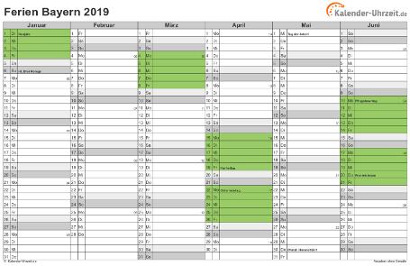 Ferienkalender 2019 für Bayern - A4 quer-zweiseitig