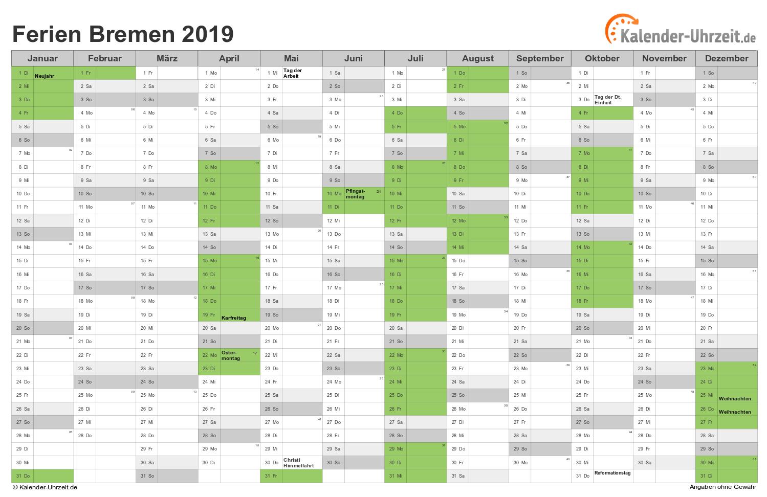 Ferien 2019 Bremen