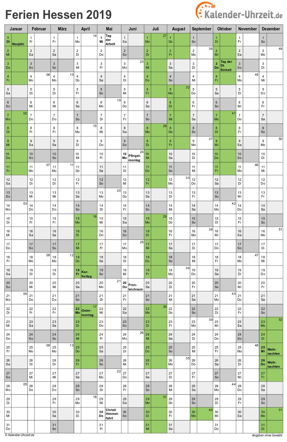 kalender 2019 hessen zum ausdrucken pdf