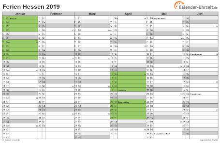 Ferienkalender 2019 für Hessen - A4 quer-zweiseitig