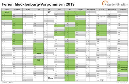 Ferienkalender 2019 für Meck.-Pomm. - A4 quer-einseitig
