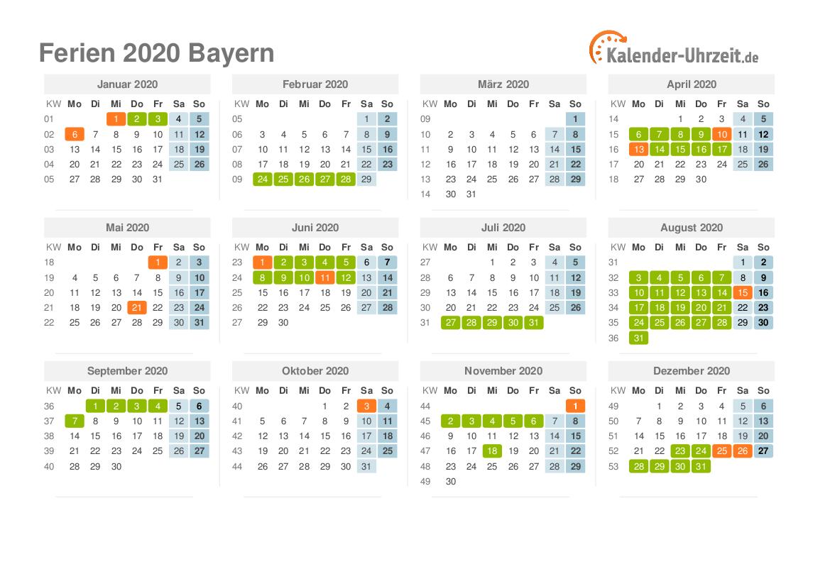 Schulferien bayern 2020 kalender