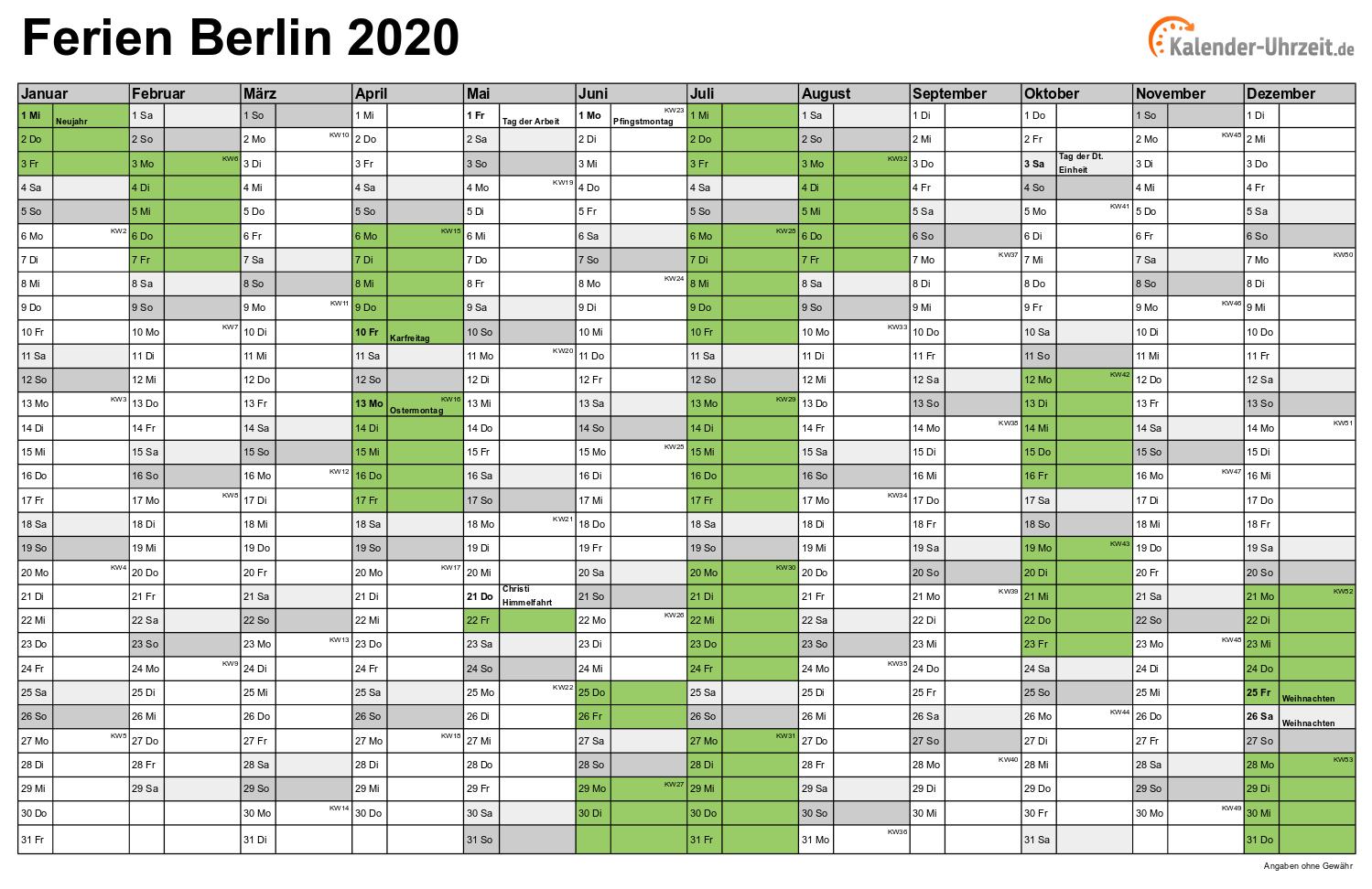 Ferien Berlin 2020 Ferienkalender Zum Ausdrucken