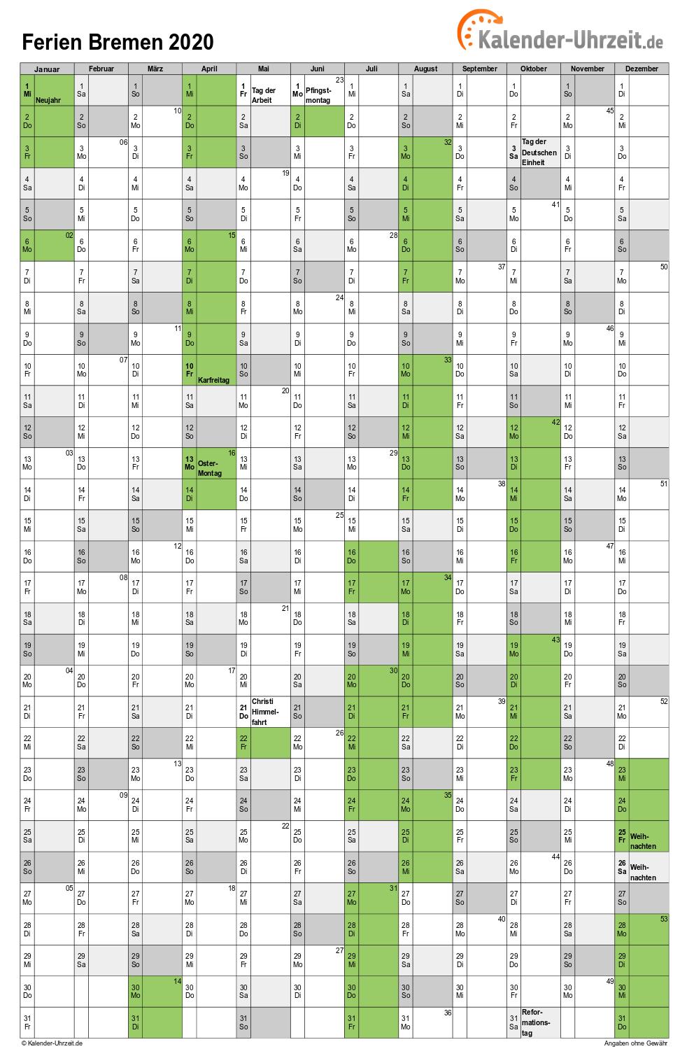 Ferien Bremen 2020 - Ferienkalender zum Ausdrucken
