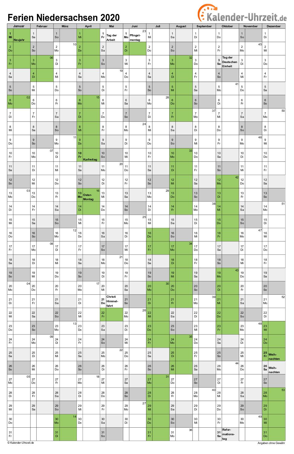 Ferien Niedersachsen 2020 Ferienkalender Zum Ausdrucken
