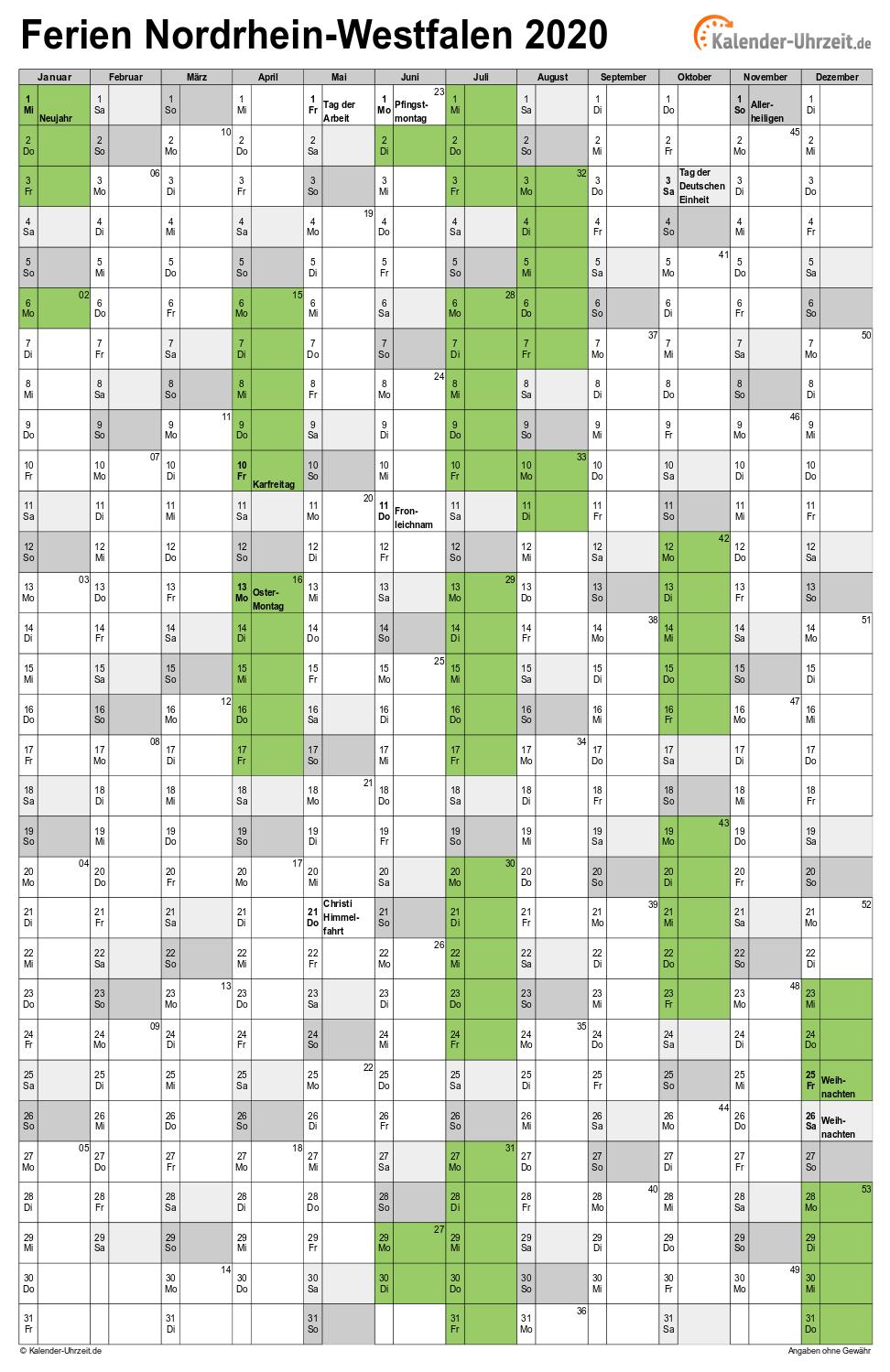 Ausdrucken Jahreskalender 2020 Nrw