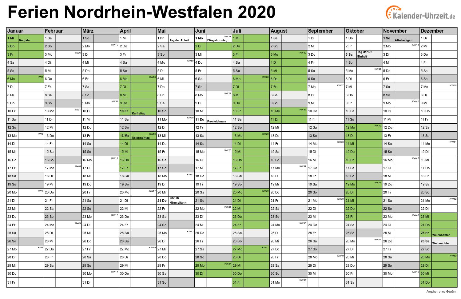Ferien Nordrhein Westfalen 2020 Ferienkalender Zum Ausdrucken