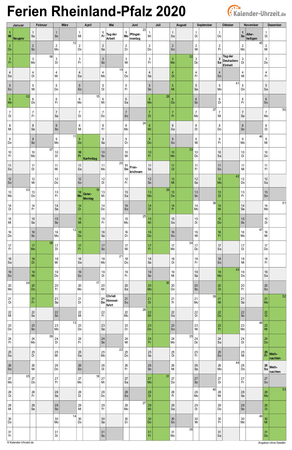 Ferien Rheinland Pfalz 2020 Ferienkalender Zum Ausdrucken