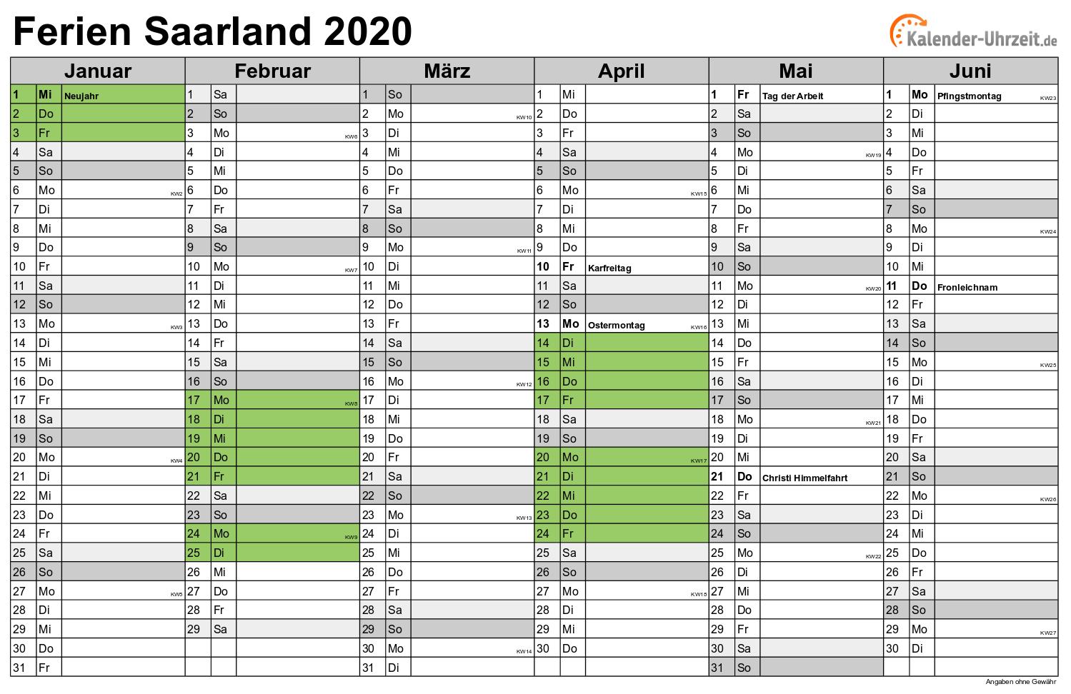 Schulferien saarland 2021