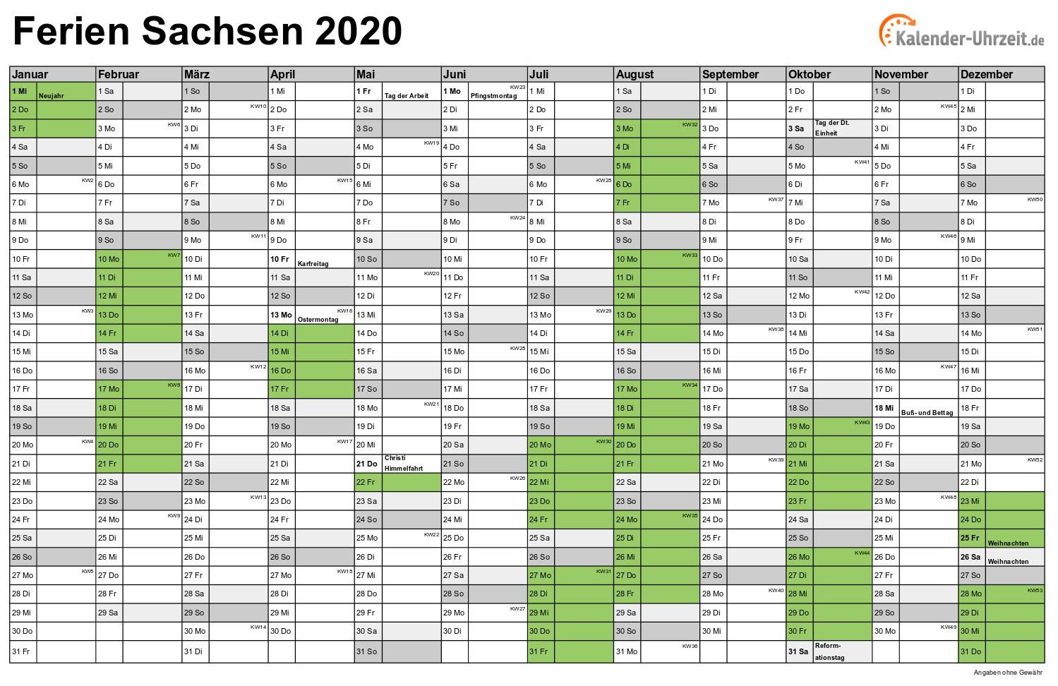 Ferien Sachsen 2020 Ferienkalender Zum Ausdrucken